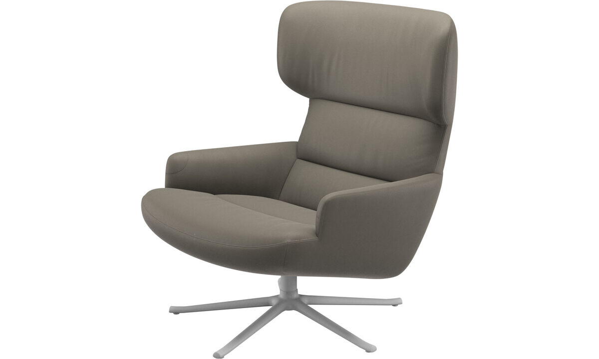 Armchairs - Trento chair with swivel function - Grey - Leather