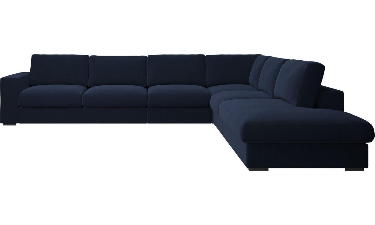 Sofas with open end - Cenova divano ad angolo con modulo relax - Blu - Tessuto