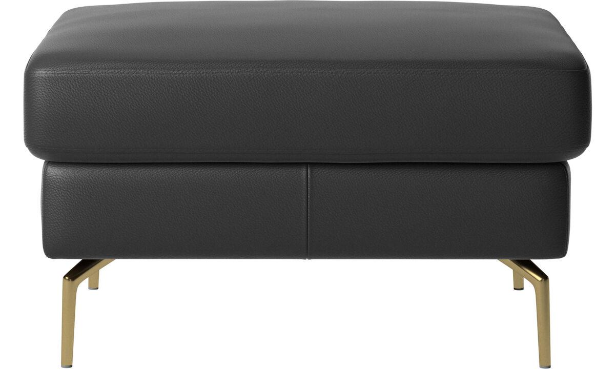 Ottomans - Osaka footstool, regular seat - Black - Leather