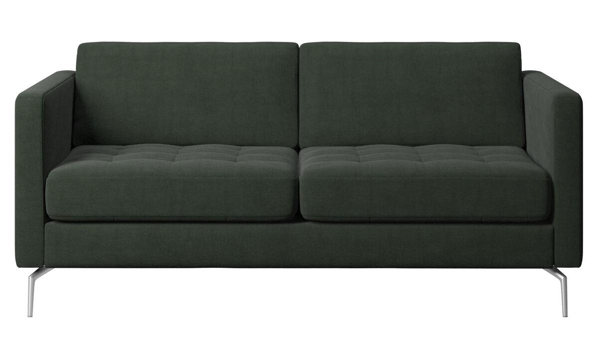 Sofás de 2 plazas - sofá Osaka, asiento capitoné - En verde - Tela