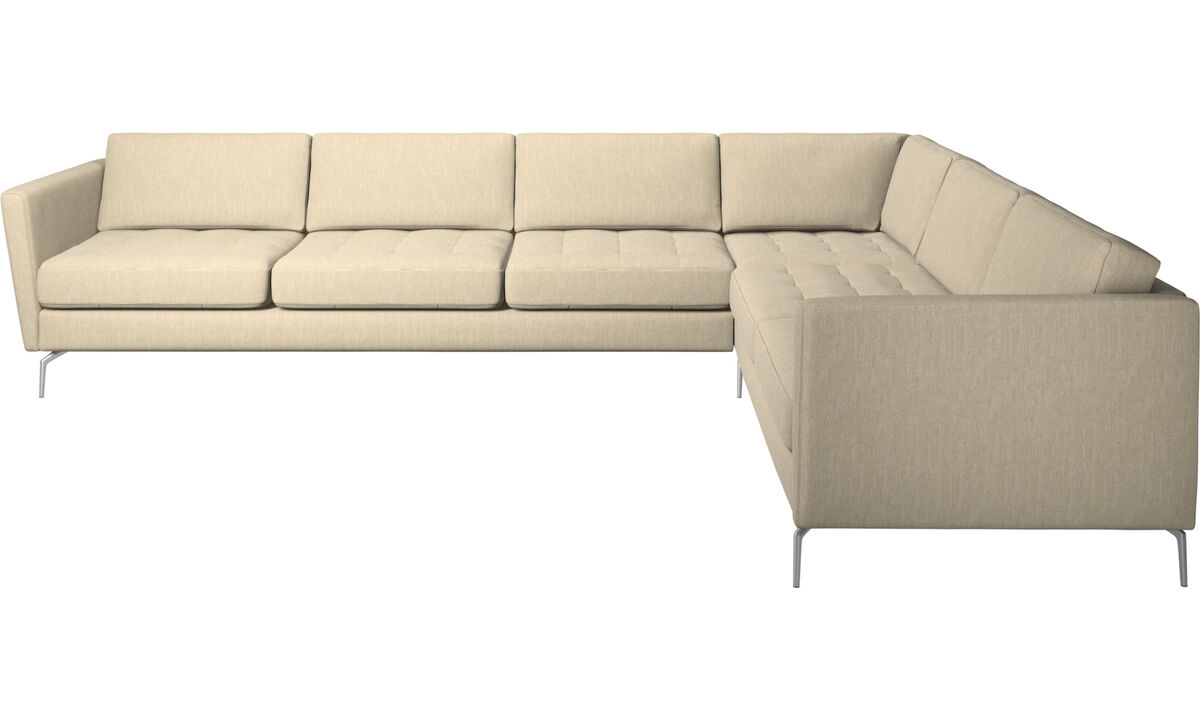 Corner sofas - Osaka corner sofa, tufted seat - Brown - Fabric