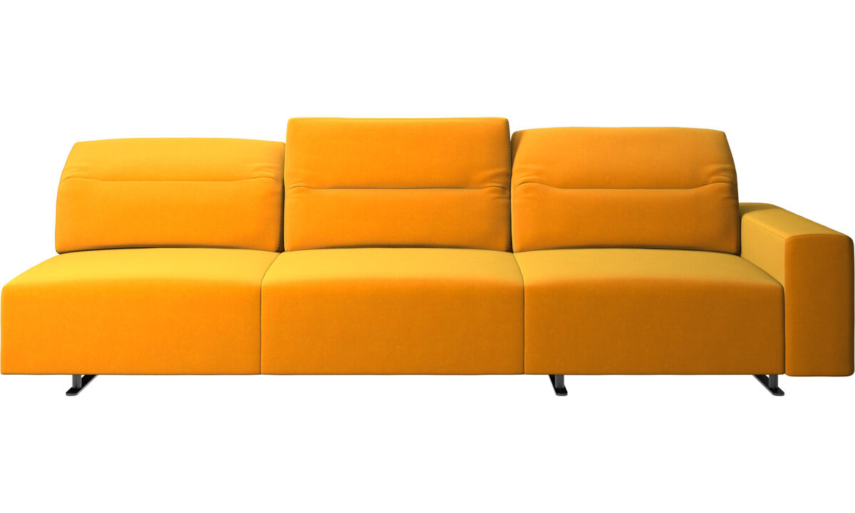 3 seater sofas - Hampton sofa with adjustable back and storage on the left side - Orange - Fabric