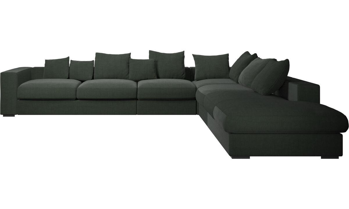 Sofás con lado abierto - sofá esquinero Cenova con módulo de descanso - En verde - Tela