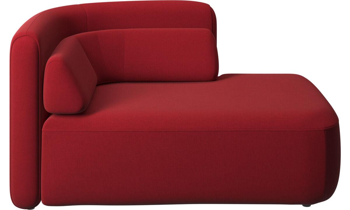 Sofás modulares - assento Ottawa 1,5 aberto lado direito - Vermelho - Tecido