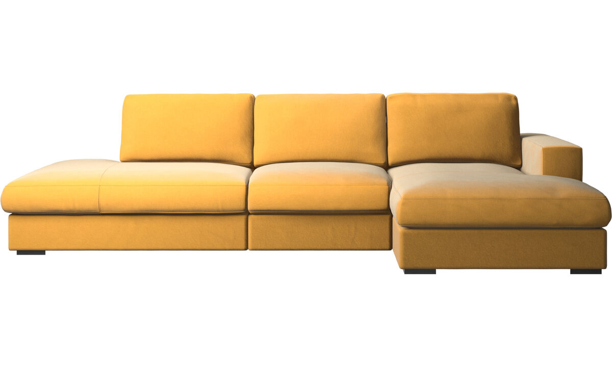 Sofas with open end - Cenova sofa with lounging and resting unit - Yellow - Fabric