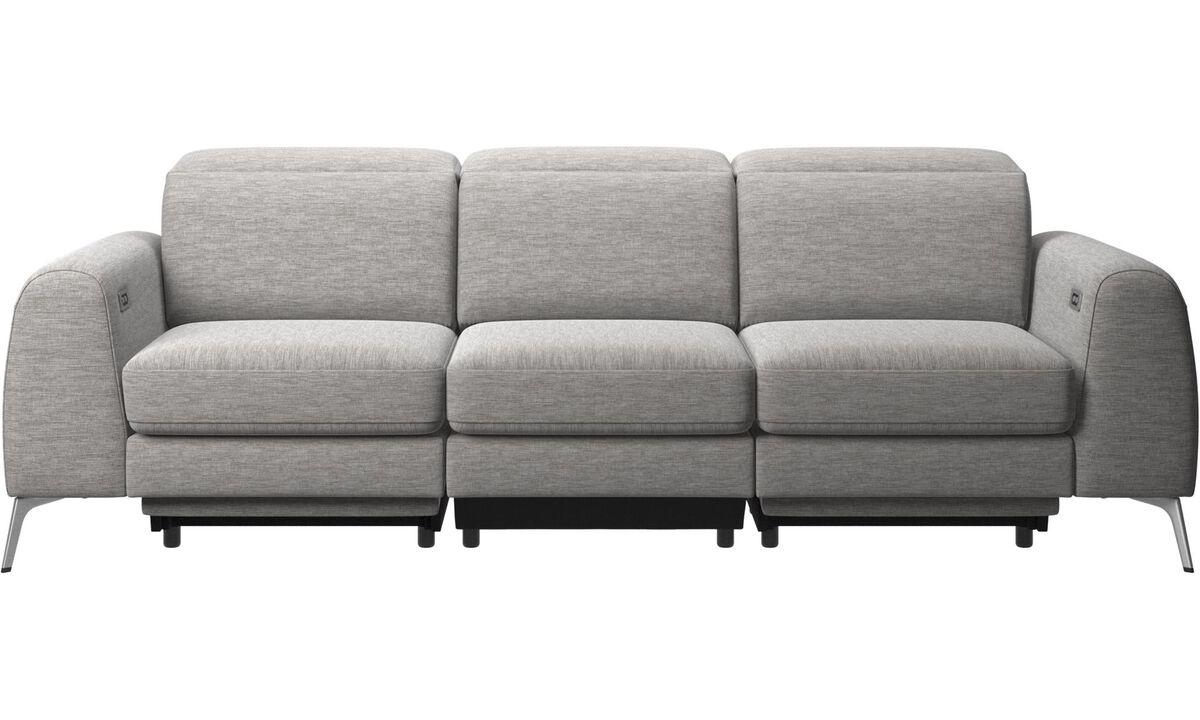 Sofás de 3 lugares - Madison sofá com assento elétrico, cabeça e pé movimentam-se (transformador e cabo plug-in incluído) - Cinza - Tecido