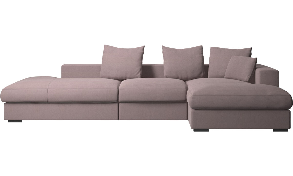 Sofas with open end - Cenova sofa with lounging and resting unit - Purple - Fabric