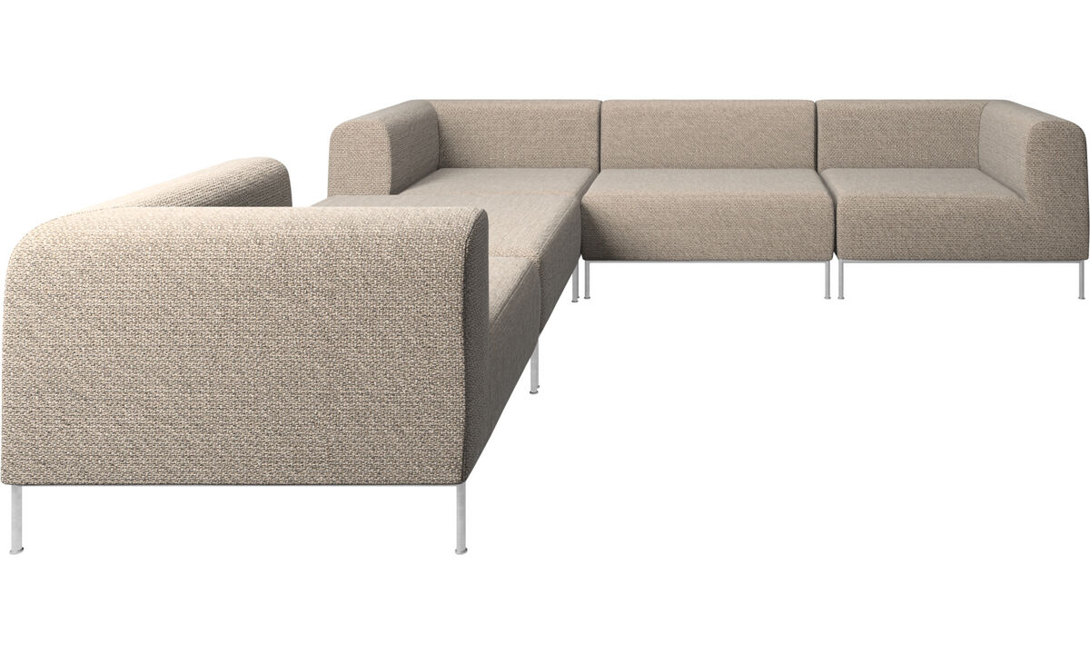 Corner sofas - Miami corner sofa with pouf on left side - Brown - Fabric