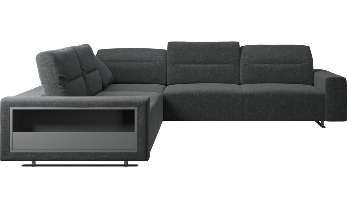 Corner sofas - Hampton corner sofa with adjustable back and storage on left side - Grey