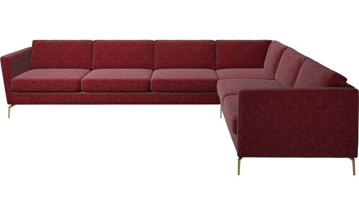 Sofás esquineros - sofá esquinero Osaka, asiento regular - Rojo - Tela