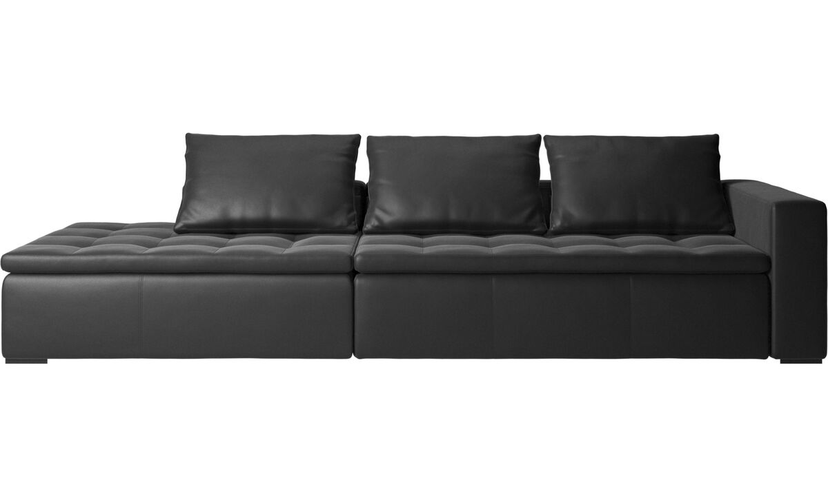 Sofas with open end - Mezzo sofa with lounging unit - Black - Leather