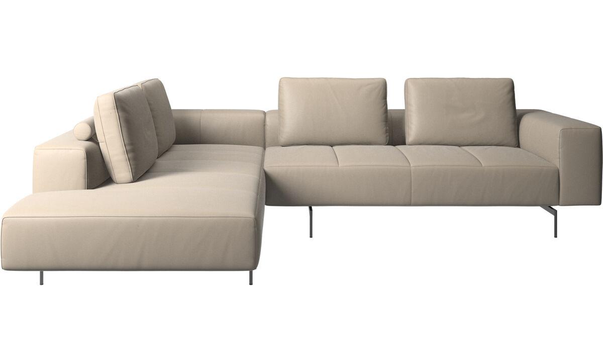 Corner sofas - Amsterdam corner sofa with lounging unit - Beige - Leather