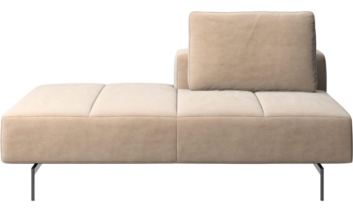 Modular sofas - Amsterdam Iounging module for sofa, back rest right, open end left - Beige - Fabric