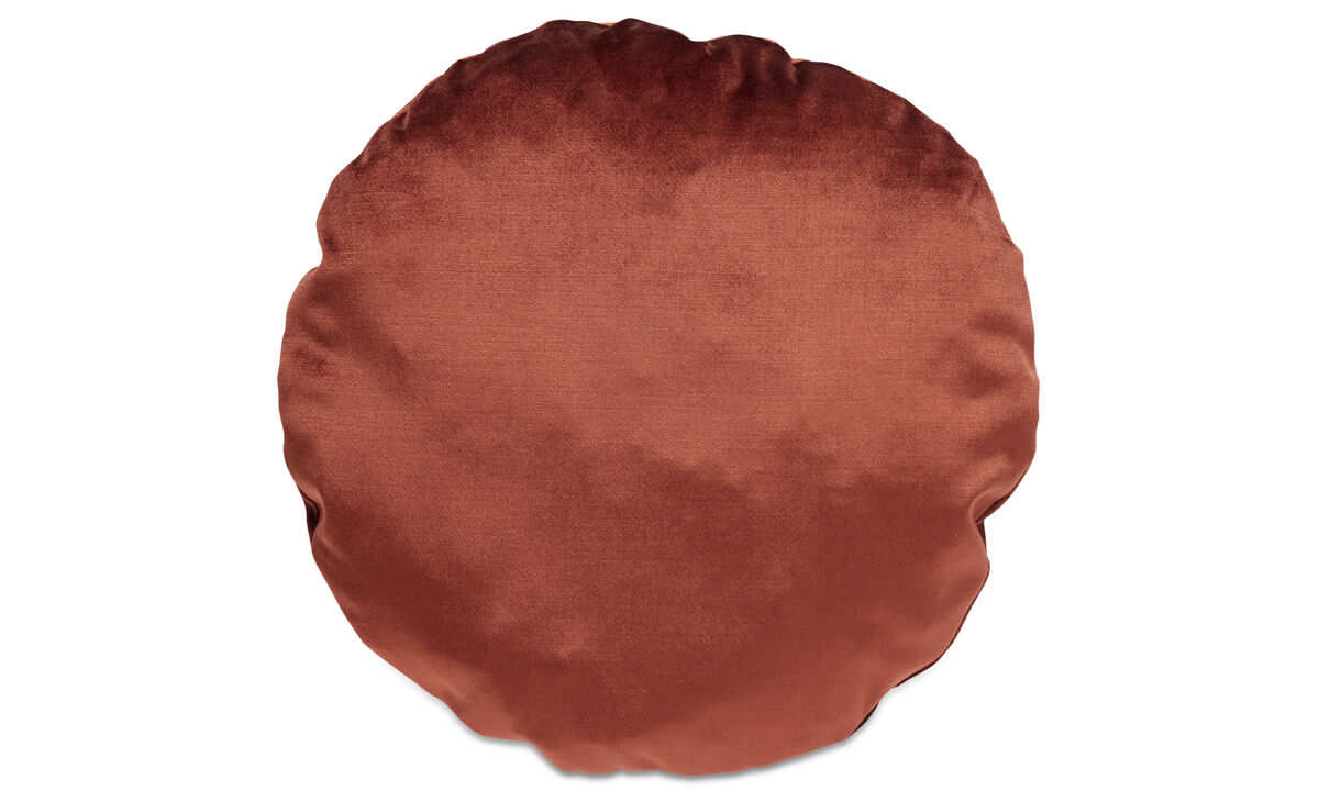 Velvet cushions - Round velvet cushion - Red - Fabric
