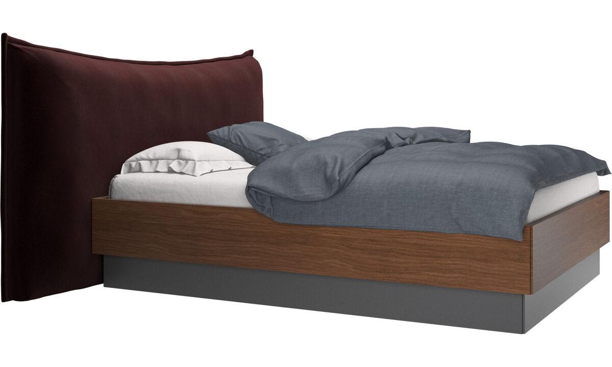 Camas - cama con canapé, estructura elevable y tablado, no incluye colchón Gent - Morado - Tela
