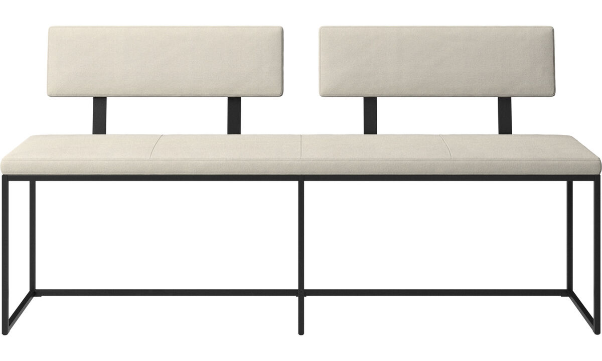 Benches - London large bench with cushion and backrest - White - Fabric