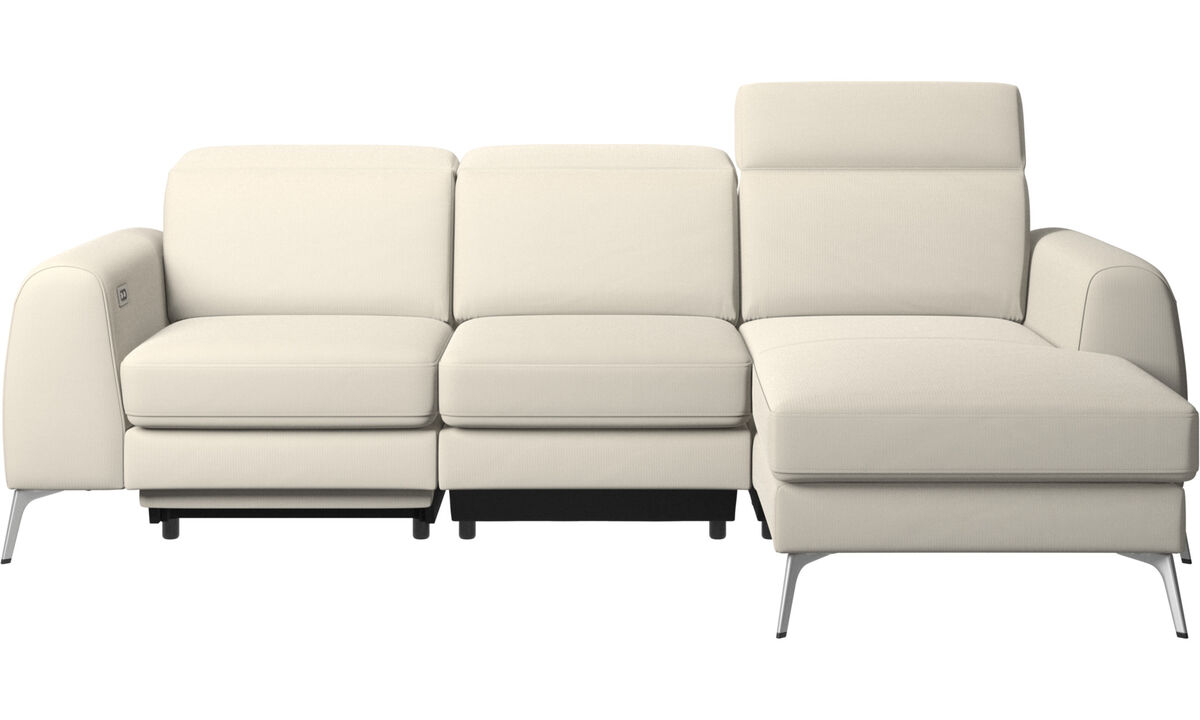 New designs - Madison sofa with resting unit, and electric seat, head, and foot rest motion (transformer and cable plug-in included) - White - Fabric