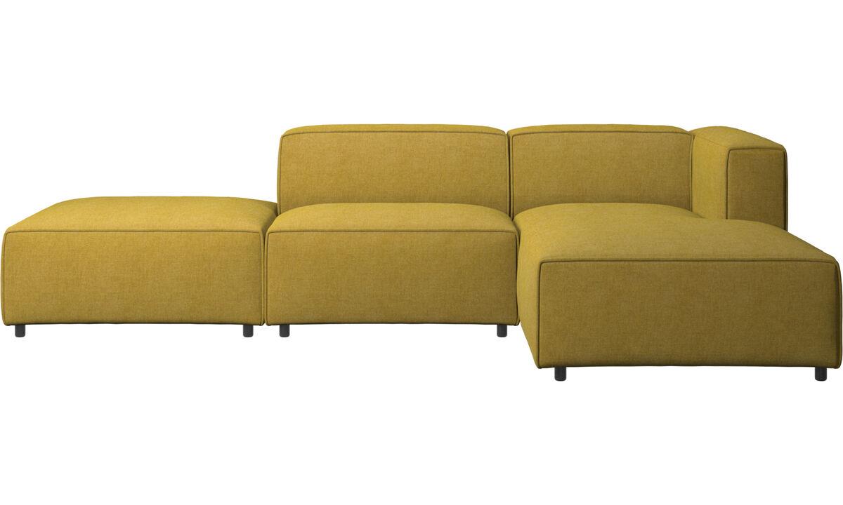 Sofás con chaise longue - sofá Carmo con módulo chaise-longue - En amarillo - Tela