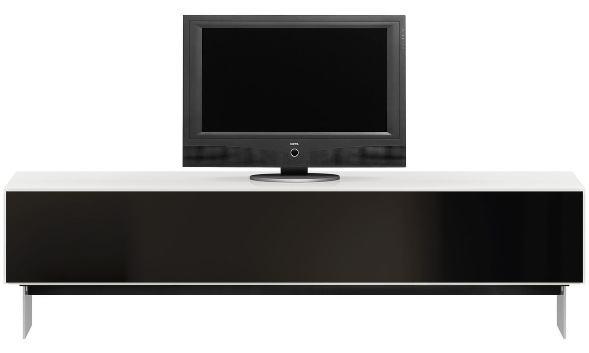 Tv units - Lugano entertainment unit with drop-down door - White - Lacquered