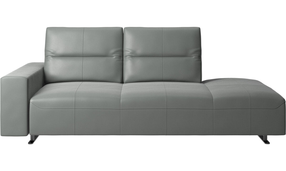 Sofas with open end - Hampton sofa with adjustable back and lounging unit right side, storage and armrest left side - Grey - Leather