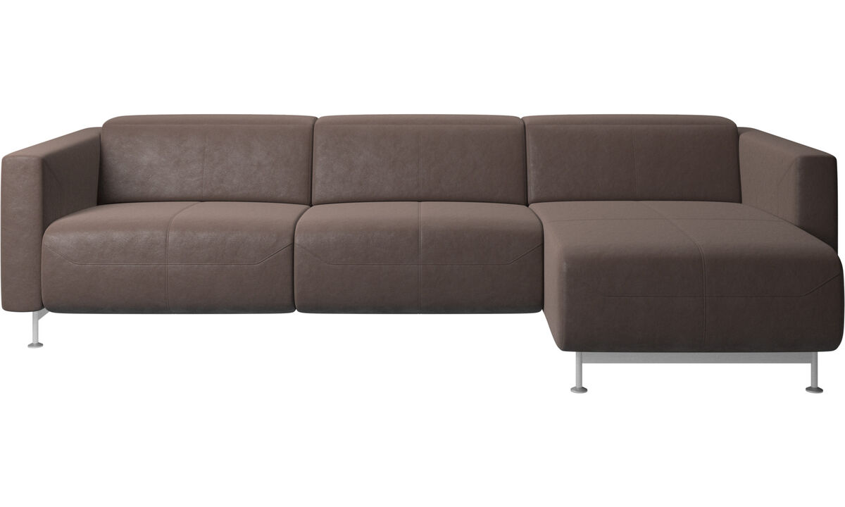 Recliner sofas - Parma reclining sofa with chaise lounge - Brown - Leather