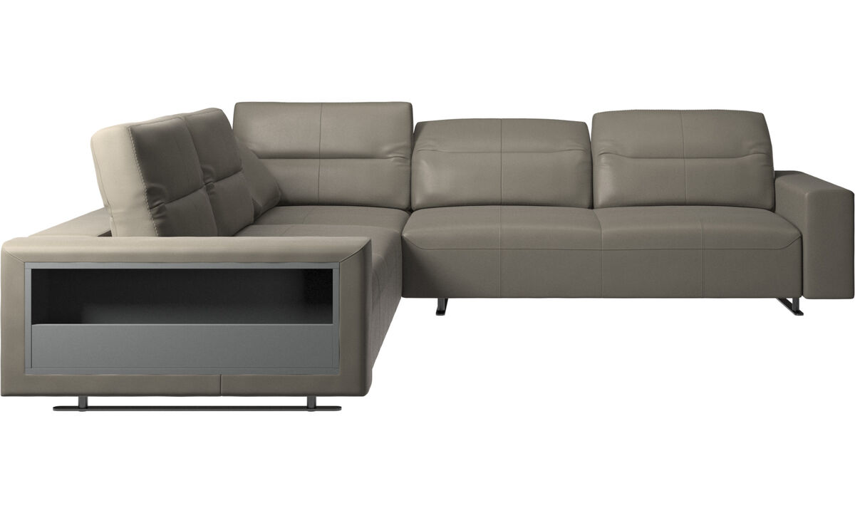 Corner sofas - Hampton corner sofa with adjustable back and storage on left side - Grey - Leather