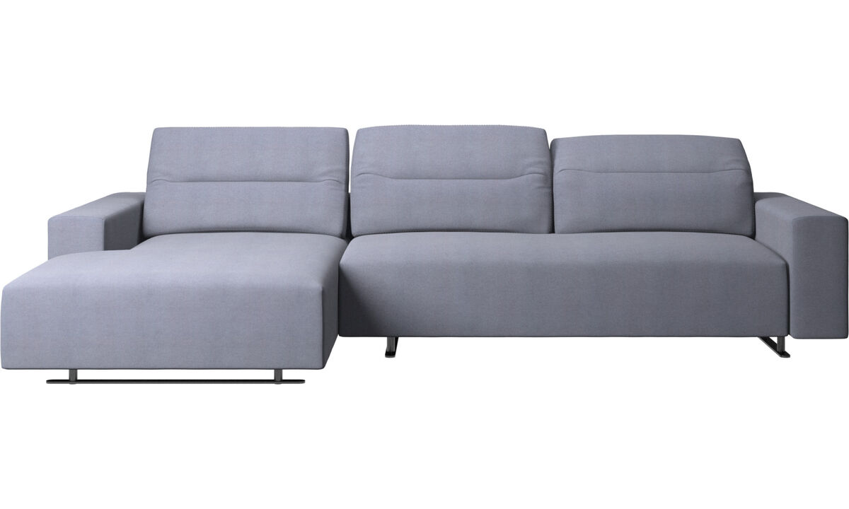 Sofás con chaise longue - Sofá Hampton con respaldo ajustable y módulo de descanso en lado izquierdo - En azul - Tela