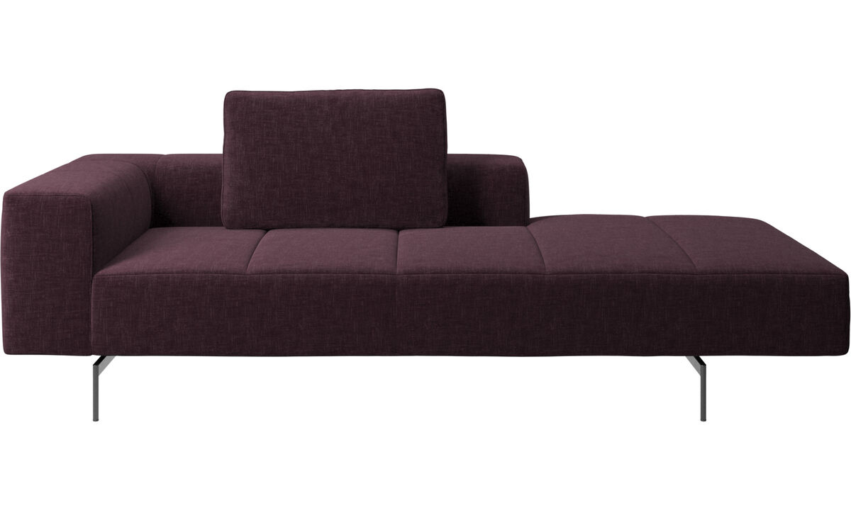 Chaise lounge sofas - Amsterdam Iounging module for sofa, armrest left, open end right - Red - Fabric