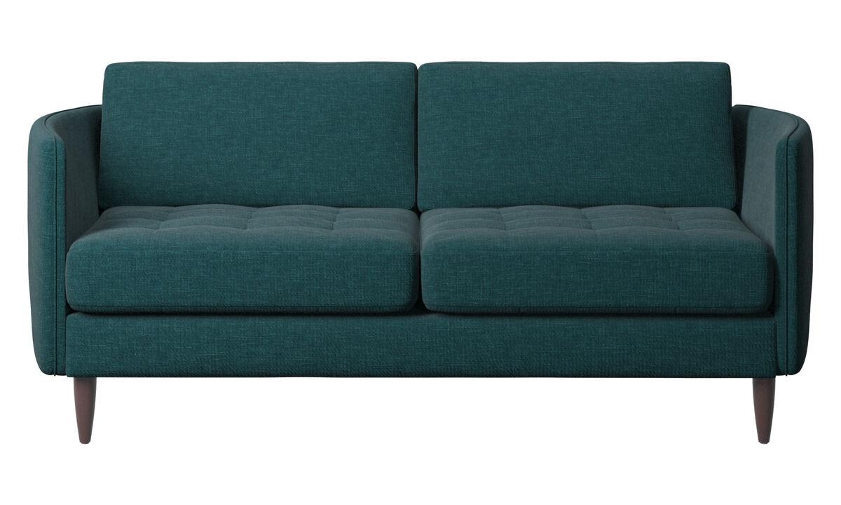 Sofás de 2 plazas - sofá Osaka, asiento capitoné - En azul - Tela