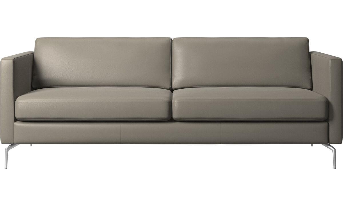 Sofás de 2 plazas y media - sofá Osaka, asiento regular - En gris - Piel
