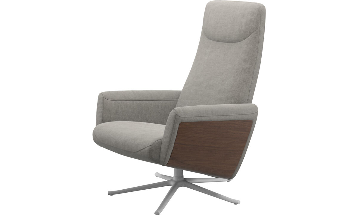 Armchairs - Lucca recliner with swivel function - Grey - Fabric