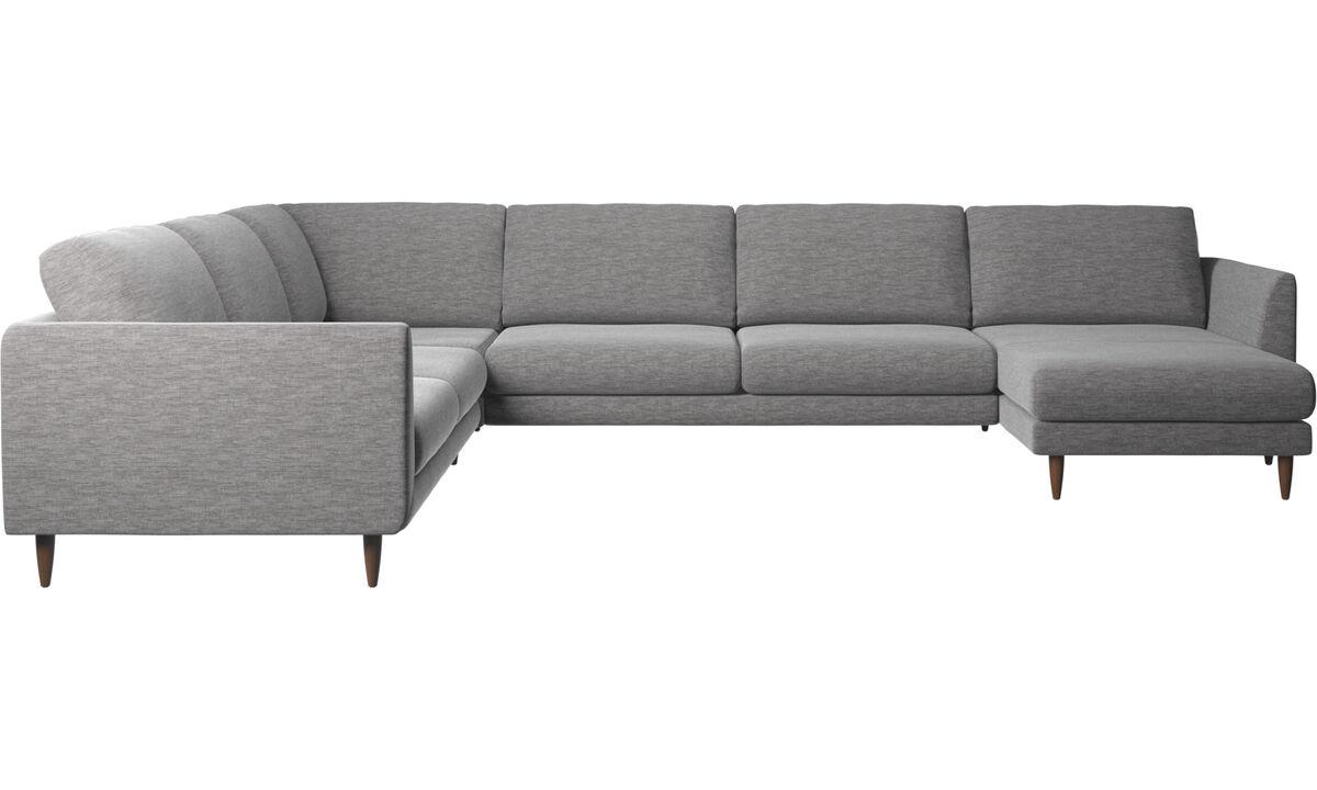 Sofás esquineros - Sofá esquinero Fargo con módulo chaise-longue - En gris - Tela