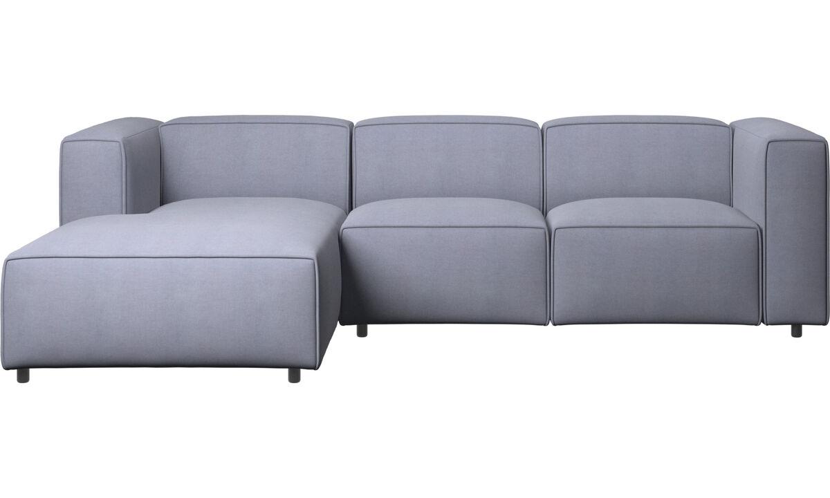 Sofás reclinables - Sofá Carmo con movimiento y módulo de descanso - En azul - Tela