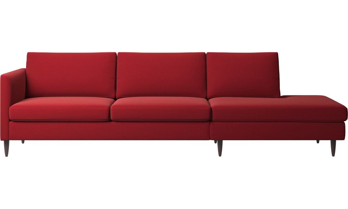 Sofas with open end - Indivi sofa with lounging unit - Red - Fabric