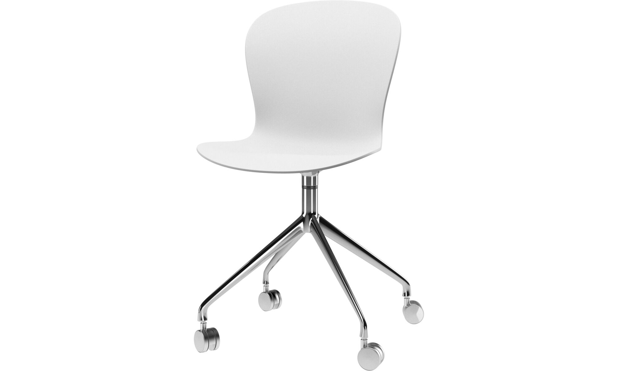 Dining Chairs   Adelaide Chair With Swivel Function And Wheels   White    Metal