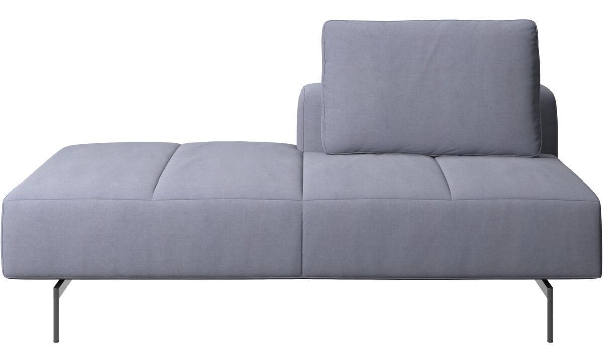 Sofás modulares - Módulo lounge para sofá Amsterdam, respaldar derecho, lado izquierdo abierto - En azul - Tela