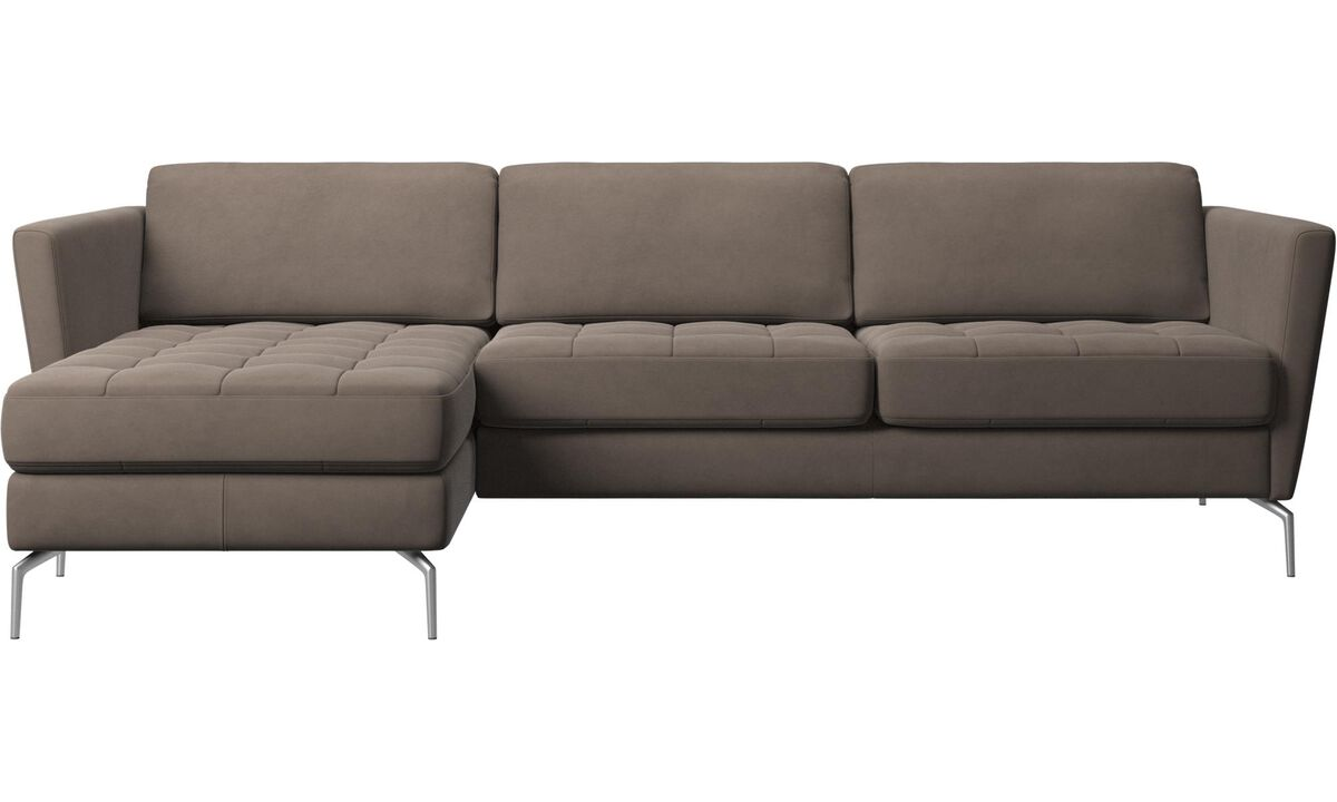 Chaise lounge sofas - Osaka sofa with resting unit, tufted seat - Gray - Leather