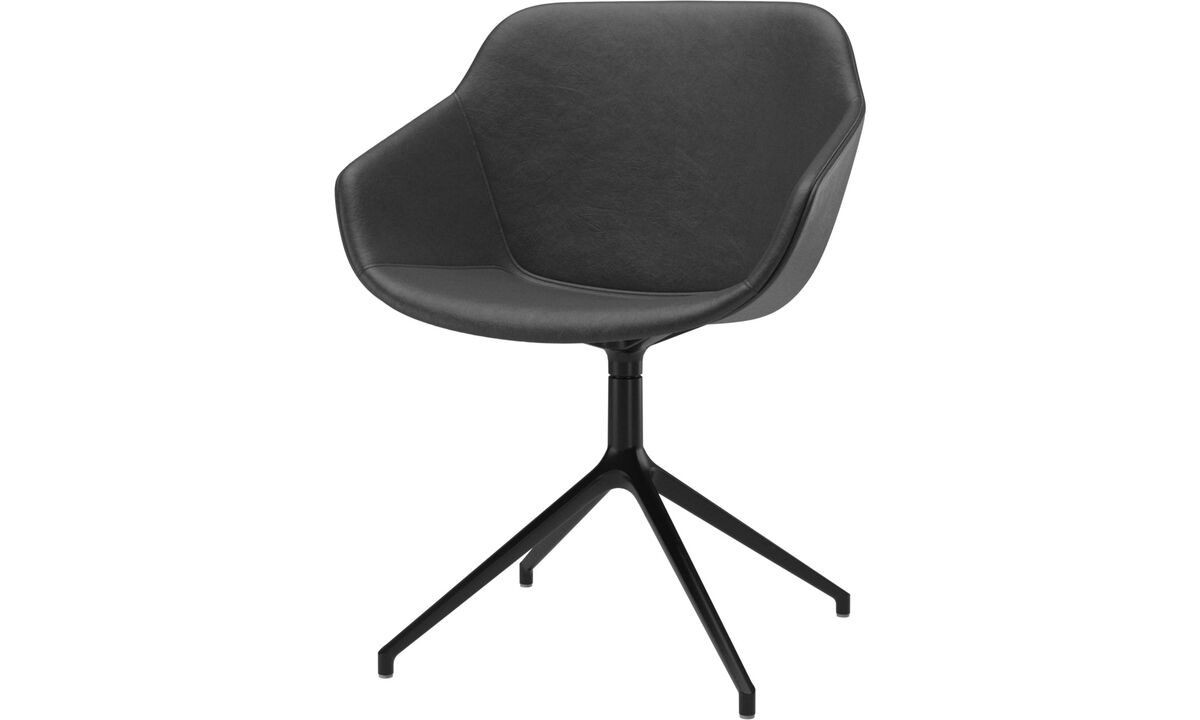 Dining chairs - Vienna chair with swivel function - Black - Leather