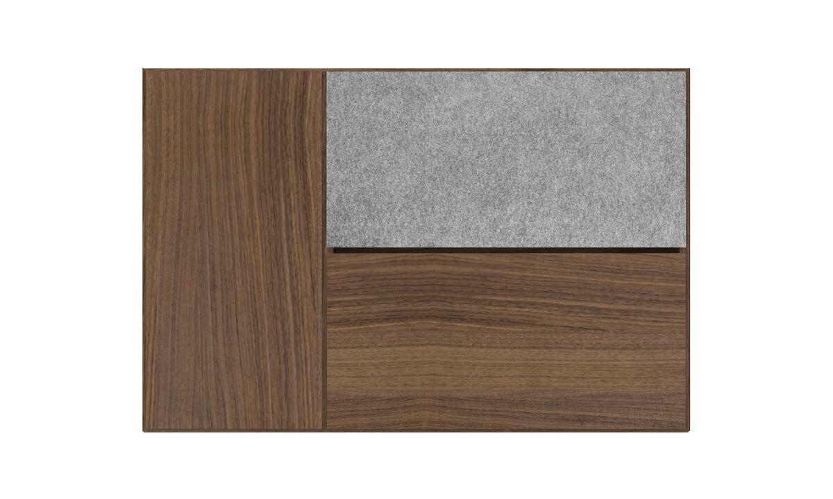Sistemas de pared - Sistema de armario de pared Lugano con puerta abatibles hacia abajo - En marrón - Nogal