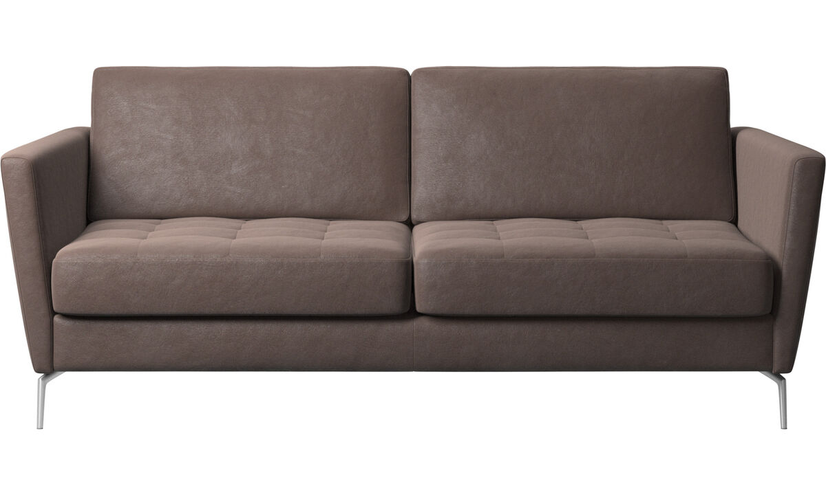 Sofa beds - Osaka sofa with sleeper function, tufted seat - Brown - Leather