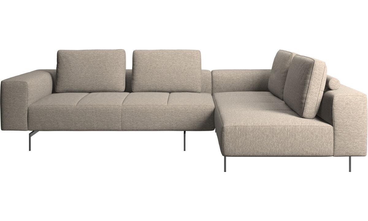 Sofy modułowe - Sofa narożna Amsterdam z modułem wypoczynkowym - Beżowy - Tkanina