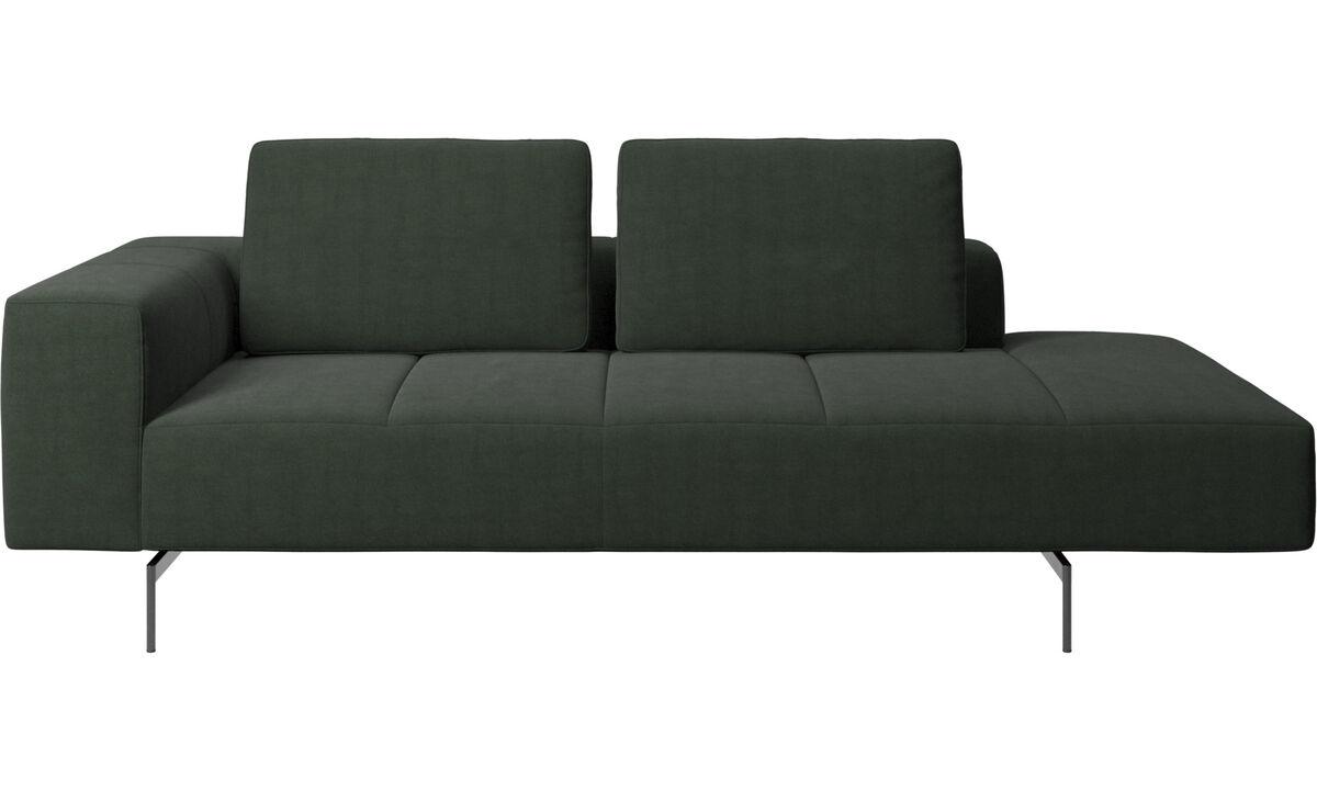 Sofás modulares - Módulo de descanso para sofá Amsterdam, reposabrazos izquierdo, lado derecho abierto - En verde - Tela