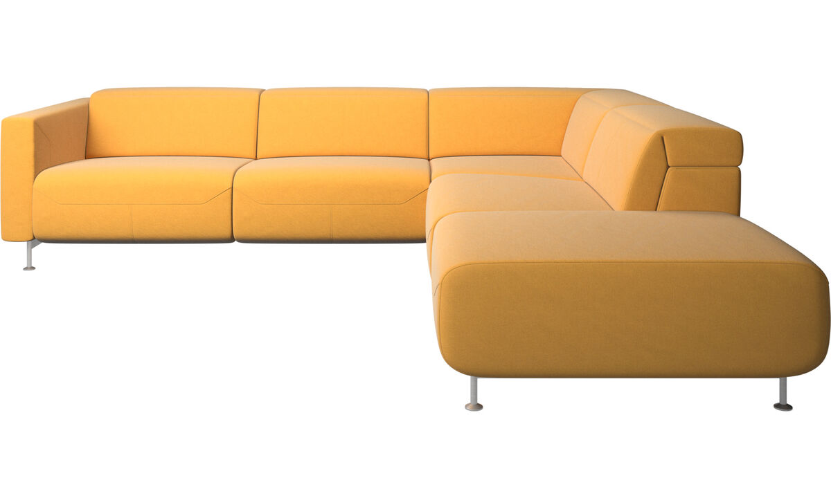 Recliner sofas - Parma reclining corner sofa with open end - Yellow - Fabric
