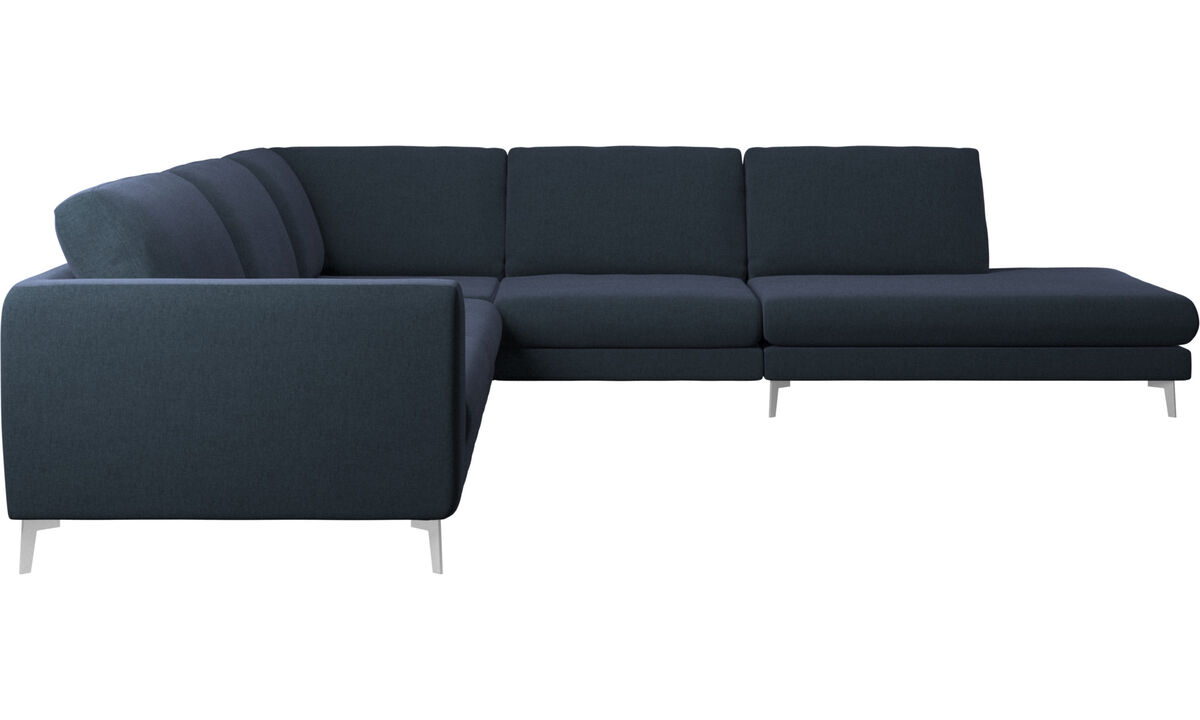 New designs - Fargo corner sofa with lounging unit - Blue - Fabric