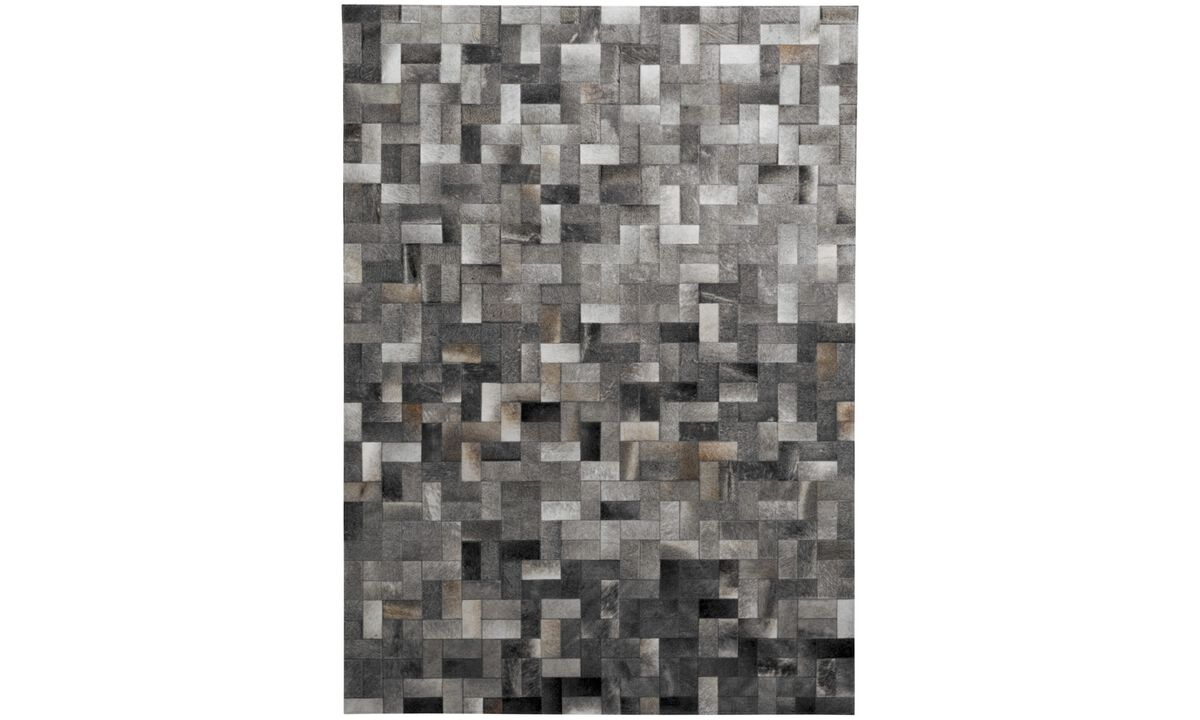Leather rugs - Sakka rug - rectangular - Grey - Leather