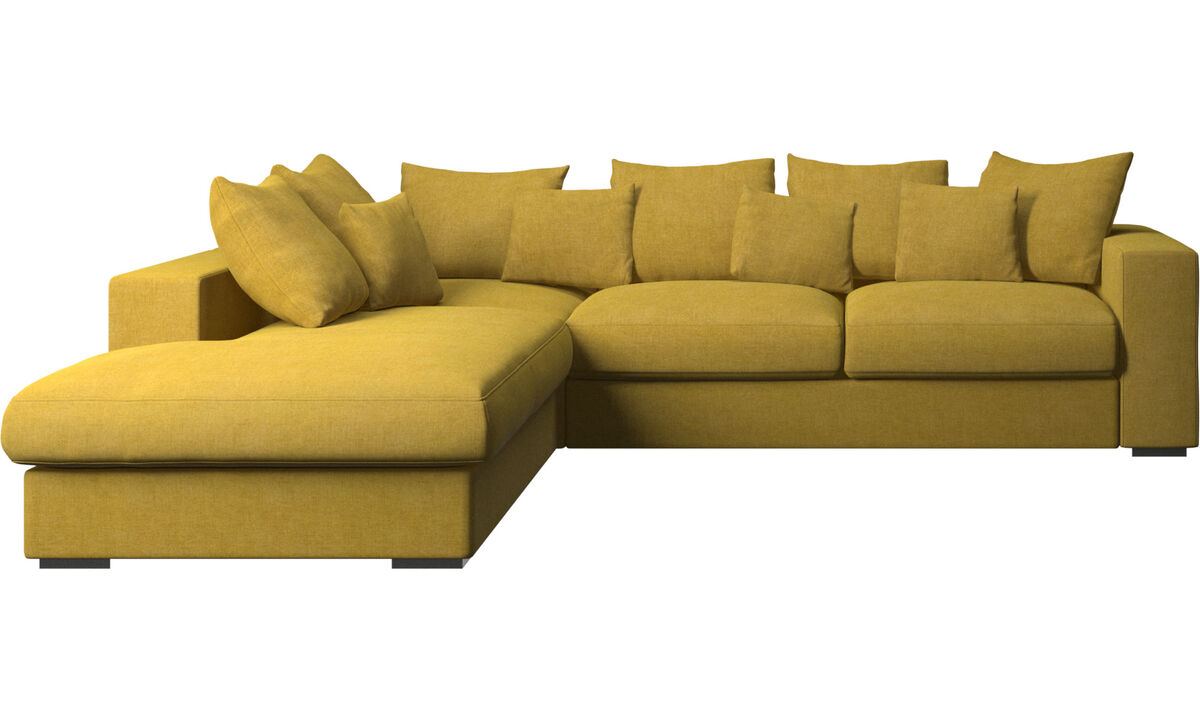 Sofás con lado abierto - Sofá Cenova con módulo de descanso - En amarillo - Tela