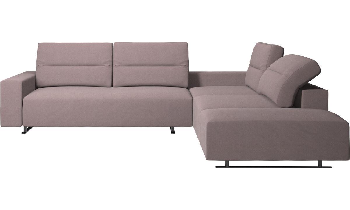 Sofy narożne - Sofa narożna Hampton z regulowanym oparciem i schowkiem po lewej stronie - Purpurowy - Tkanina