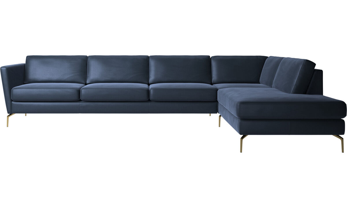 Sofas with open end - Osaka corner sofa with lounging unit, regular seat - Blue - Leather