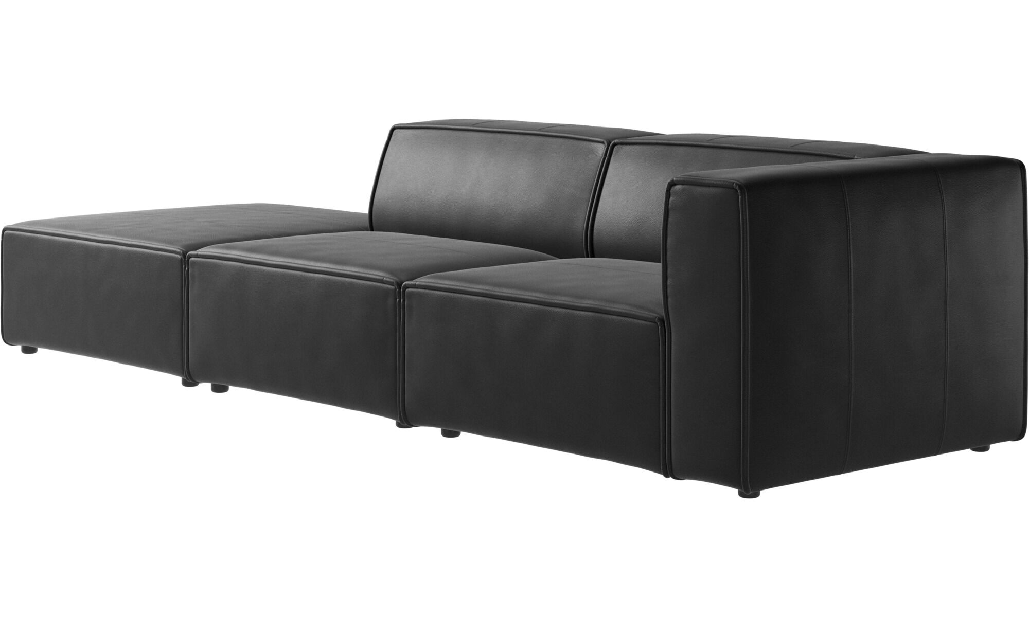... Sofas With Open End   Carmo Sofa With Lounging Unit   Black   Leather  ...