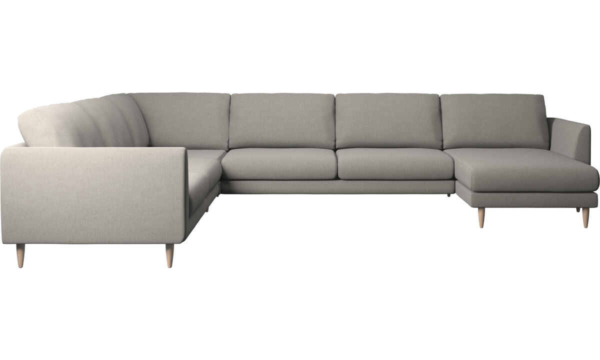 Chaise lounge sofas - Fargo corner sofa with resting unit - Grey - Fabric